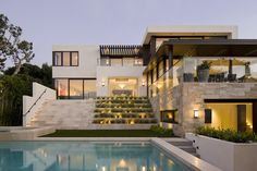 View from Pool of Manhattan Beach Residence by SUBU Design Architecture