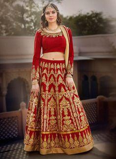 Women's Silk Fabric Deep Scarlet Color Pretty Unstitched Lehenga Choli With Lace Work Dupatta