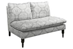 One Kings Lane - HGTV: Furniture in a Flash - Bacall Armless Settee, Cream/Gray