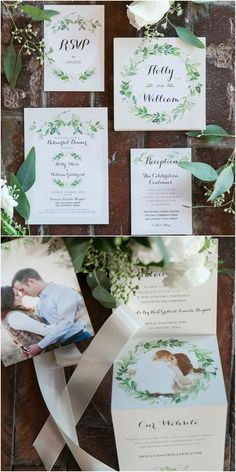 Foldout save the date, wedding invitations, paper suite, greenery motif // Monica Roberts Photography
