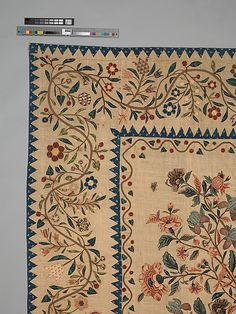 Coverlet, 1803, The design of this engaging appliquéd coverlet, made in about 1803 as a wedding present for a New York City bride, emulates Indian Tree of Life palampores.