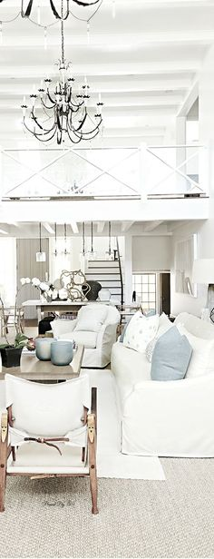 Beach House Blues ● Living Room - Luxury Homes Beach Cottage Style, Coastal Cottage, Beach House Decor, Home Decor, French Cottage, Coastal Living Rooms, Living Room Decor, Living Spaces, Style At Home