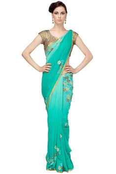 Shaded Green Gotta Saree by Red Couture