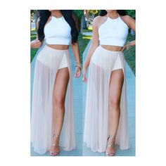 Rotita High Slit Chiffon Two Piece Dresses ($23) ❤ liked on Polyvore featuring dresses, white, sleeve maxi dress, sexy dresses, sexy maxi dress, maxi dress and 2 piece dress