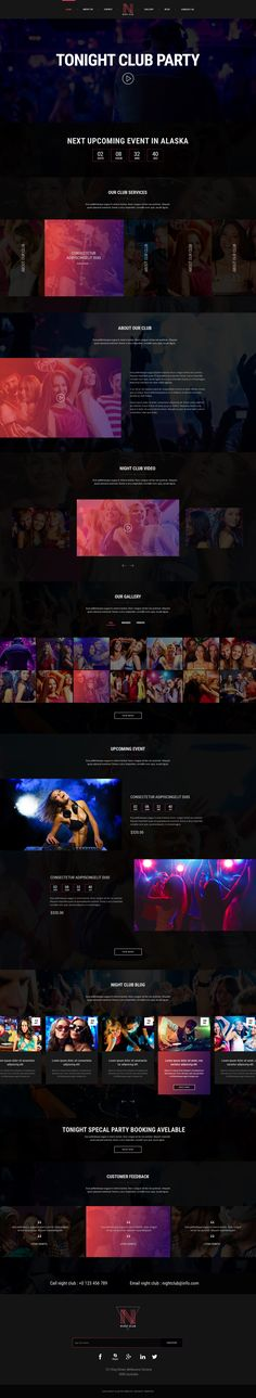 Night Club is awesome For Pub, Digital Studio, Adult Content, Music or Video Gallery website Kids Party Themes, Ideas Party, Best Website Templates, Gallery Website, Dj Party, Party Invitations Kids, Layout, Super Party, Landing Page Design