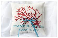 Red Coral  Sea Ring Bearer Pillow   Linen wedding ring by KoTshop, $25.00