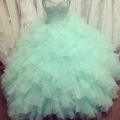Ball Dress, Mint Quinceanera Dresses Ball Gown Sweetheart Beads Crystals Backless Ruffles Long Green Prom Gowns Pageant Gowns For Girls Ball Gowns Prom, Prom Party Dresses, Ball Dresses, Homecoming Dresses, Puffy Dresses, Sleeveless Dresses, Dresses Dresses, 2015 Dresses, Pageant Gowns