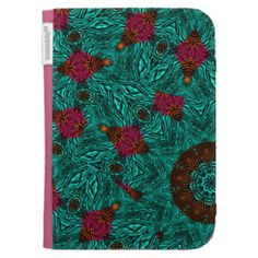 Teal Pink Orange Mix Abstract Patterned kindle cases