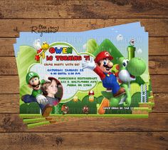 Super Mario Invitation by RaynebowShoppe on Etsy, $1.00 Custom Birthday Invitations, Super Mario, All Design, Rsvp, Birthday Ideas, Baseball Cards, Handmade Gifts, Party, Etsy