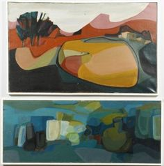 Lot 589: Lilli Palmer, Two Cubist Oils - Image 1 - to bid online, visit our catalog at http://www.liveauctioneers.com/catalog/49503_winter-fine-art-and-antiques-auction/page30?rows=20