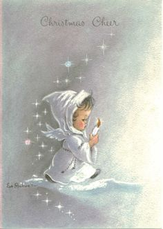 Vintage 1967 Christmas Greeting Card, Small Angel with Candle, Eve Rockwell