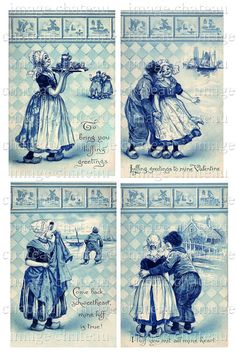 DUTCH blue DELFT TILE 4 postcard images Boy n Girl by ImageChateau, $2.75