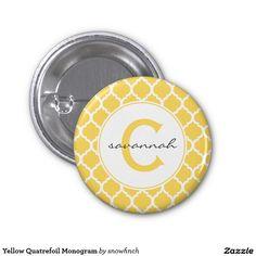 Yellow Quatrefoil Monogram Pinback Button