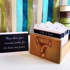 Image of Wedding Guest Book Library Card Catalog Blackboard Library Guest Book Set