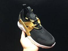 b4eebbae23ce Charming Nike Air Huarache Run Ultra BR Black Gold White Womens Mens  Footwear Running Shoes