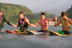 A Group of Surfer's Participate in a Pule (Prayer) at the Opening of a Quicksilver Surf Competition, Hawaii