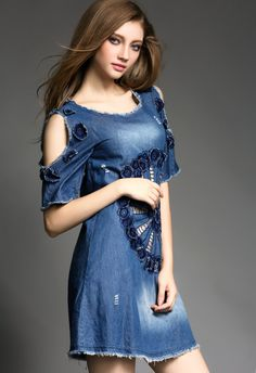 Round Collar Embroidery Cowboy Dress on Luulla