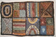 Primitive Hand Hooked Scrappy Wool  Rug   by mistypondprimitives, $95.00