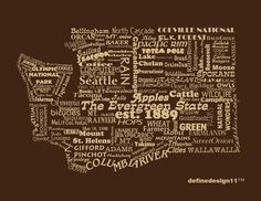 Washington State Print Word Art Typography The by DefineDesign11