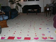 trails of love... each child gets a card to start their trail... then one bag of a specific candy per child... follow your candy to your valentine surprise... so cute.