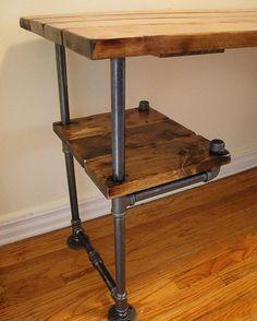 Industrial Pipeleg Desk in Golden Oak - DIY Desk Ideen Pipe Furniture, Industrial Furniture, Furniture Plans, Rustic Furniture, Furniture Decor, Furniture Vintage, Furniture Stores, Rustic Desk, Furniture Websites