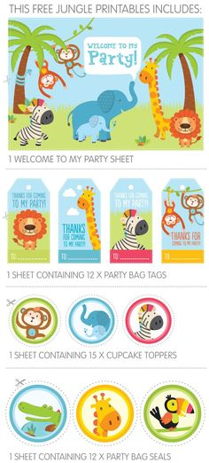 Free! Jungle Party Printables for Child's 1st Birthday