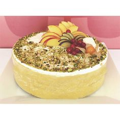 Fruit Cake Delivery Cyprus - A rich, moist almond sponge topped with an explosion of fresh seasonal fruits and fresh cream, made daily to order.