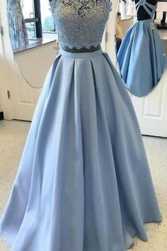 Blue Ball Gown Evening Prom Dresses Comfortable Two Piece Halter Evening Dresses With Lace Zipper Dresses,Custom Made, Party Gown,Cheap Prom Dress Two Piece Evening Dresses, Ball Gowns Evening, Lace Evening Dresses, Lace Dress, Prom Dresses, Formal Dresses, Wedding Dresses, Blue Ball Gowns, Hijab Outfit