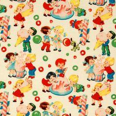 Retro candy shop | 100% cotton http://www.troispetitspois.nl/michael-miller/164-katoen-retro-snoepwinkel.html