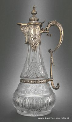 Engraved glass mounted in silver claret jug by E. Schurmann, Germany 1880