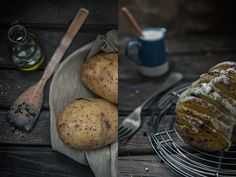 My another one dark and moody food photography sample. hasselback potato and raw setup.