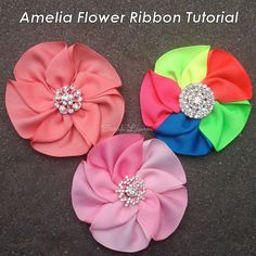 Create easy ribbon flowers with these step by step tutorials. Ribbon flowers are great for headbands, dresses, home decor and so much more! Satin Ribbon Flowers, Ribbon Art, Diy Ribbon, Fabric Ribbon, Ribbon Crafts, Flower Crafts, Ribbon Bows, Fabric Flowers, Rose Crafts