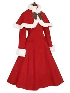 Red Lolita Coat Fur Trim Bow Sweet Lolita Wool Overcoat With Cape