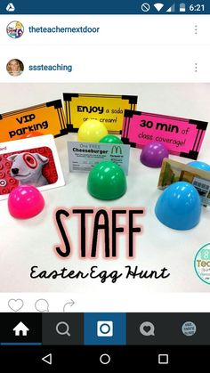 SSSTeaching: Staff Easter Egg Hunt gifts for employees Staff Easter Egg Hunt Teacher Morale, Staff Morale, Team Morale, Employee Appreciation Gifts, Teacher Appreciation Week, Volunteer Appreciation, Volunteer Gifts, Employee Gifts, School Leadership