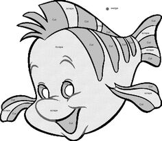 """Flounder"" pumpkin carving template from Disney's The Little Mermaid"