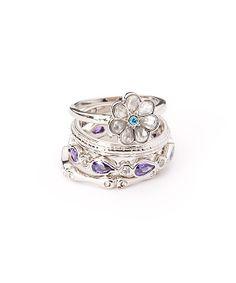 Rhodium & Purple Cubic Zirconia Stackable Ring Set | zulily