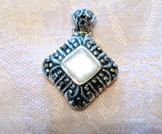 Vintage Mother of Pearl Marcasite Square by BeautifullLily on Etsy