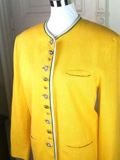 German Vintage Blazer, Women's Yellow Linen Traditional Blazer, Yellow Trachten Jacket, Der Wildschütz Trachtenmode: 10-12 (US), 14-16 (UK) by YouLookAmazing on Etsy