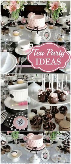 You have to see this stunning pink, black and white tea party!