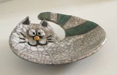 Gatto in ceramica Raku  piatto raku  posacenere raku  porta