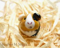 Humphrey the guinea pig by Heather Sellers.  A unique lampwork glass bead.