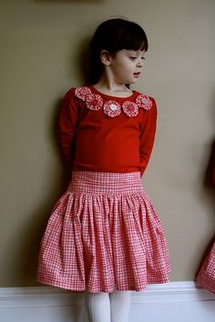 My favorite skirt pattern!  Except I do a casing with elastic in the back instead of the way she does it.  I love the flat front and drop waist!