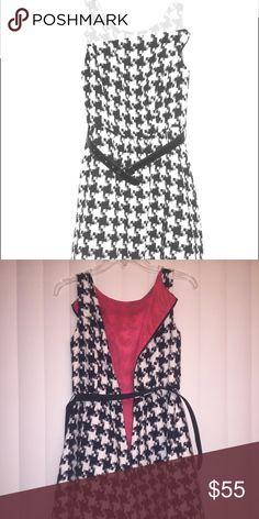 Jessica Simpson dress Jessica Simpson dress in a houndstooth pattern. Has red lining and red tulle. It's a winter dress and very warm. Smoke free pet free home. Worn twice. Jessica Simpson Dresses Midi