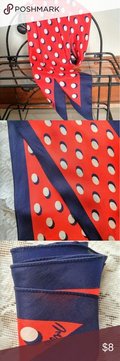 """Red White and Blue Polka Dot Silk Scarf This is a lovely red, white, and blue silk scarf with a brand mark I don't recognize. -100% silk - A few microblemishes such as tiny snags/ loose threads but no major flaws - Ends are pointed, not square - Approximately 67"""" long x 6.5"""" wide Accessories Scarves & Wraps"""