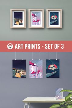 Castle Art Print Set of 3 Colorful Houses Castle in the Sky Modern Art Retro Poster Geometric Art Houses Wall Art Minimal Art