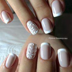Design de unhas de noiva e casamento fotos de unhas de casamento - Braut Nägel - Bridal nails - Design Bridal Nails Designs, Bridal Nail Art, French Manicure Designs, Nail Art Designs, French Manicures, Gel French Manicure, Classic French Manicure, French Manicure With Glitter, Wedding Day Nails