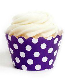 Royal Purple Polka Dot Cupcake Wrappers - Set of 12 #zulily #zulilyfinds