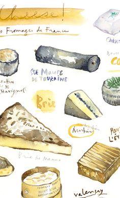 "ETSY(lucileskitchen) - Cheese poster Kitchen art print Food artwork 8x10"" or 8.25x12"" $53AUD"