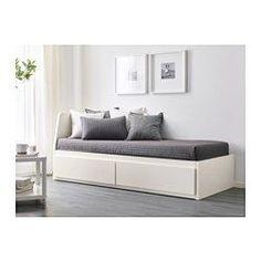 IKEA - FLEKKE, Pohovka s 2 zásuvkami/2 matracmi, biela/Malfors stredne tvrdý, , Operadlo sa dá namontovať na pravú alebo ľavú stranu rámu postele.Matrac z vysoko pružnej peny poskytuje komfort celému telu.