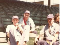 Arnie Rubin waits in the stands with fellow vendors...I think that was Ted in the middle and Jim Bendix with the pipe...in the 1970's